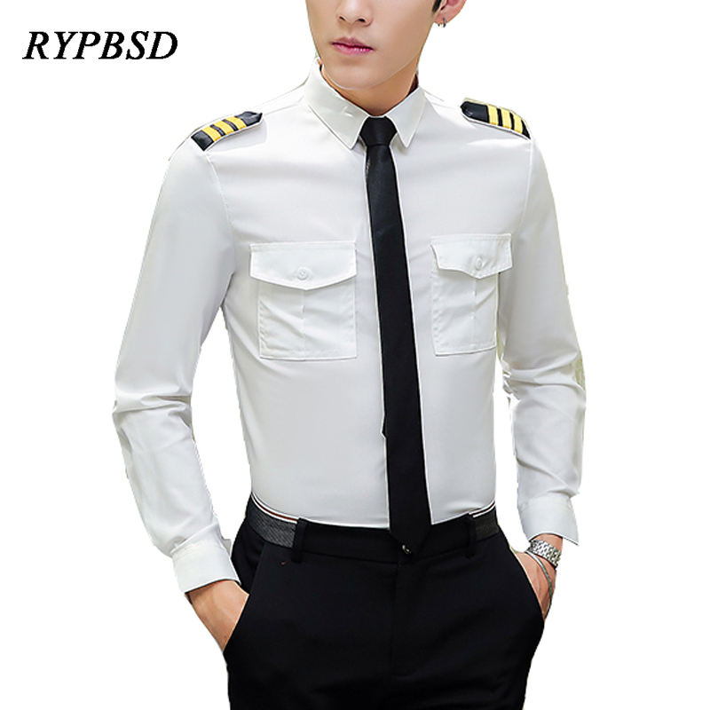 White Shirts Men 2019 Spring New Slim Fit Mens Pilot Shirts Casual Long Sleeve Pilot Uniform Men Regular Fit Dress Shirts