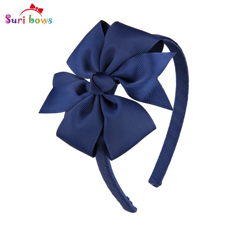 1 piece Suri bows Sweet Girls Hair Bands Grosgrain Ribbon Bow Baby Toddler Hairbands Children Hair Accessories for Girls FS010 pretty girls boutique shining glitter bow hair bands for dance party children toddler hair accessories