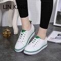 LIN REI Novas Mulheres Sapatos Casuais Lace-Up Dedo Do Pé Redondo Sola Grossa Strped sólida Curto Sapatos de Caminhada Suave Lazer Low Top Sapatos Tornozelo