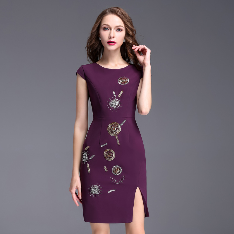 Women Summer Pencil Dress Office Ladies Character Pattern Red Black ...