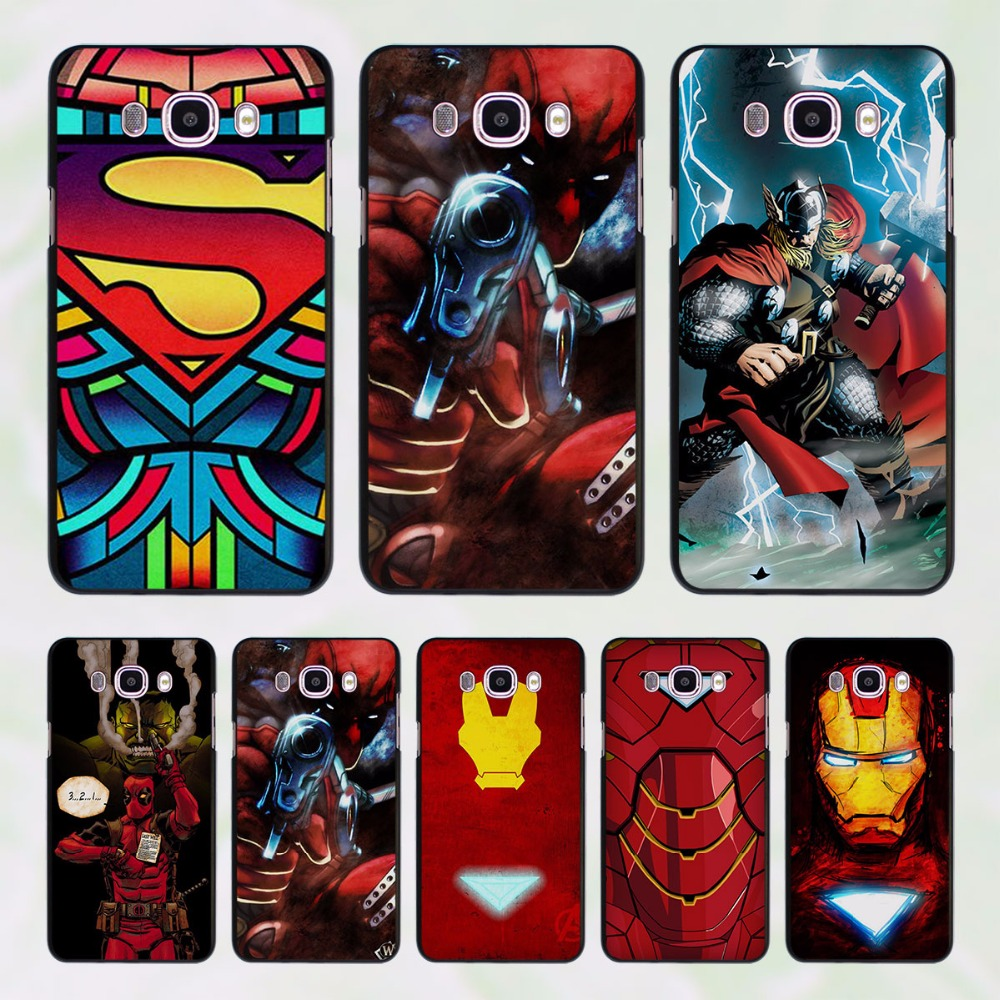 Pics photos batman logo evolution design for samsung galaxy case - Deadpool Ironman Batman Superhero Design Hard Black Case For Samsung Galaxy J7 J5 2016 J7 Prime