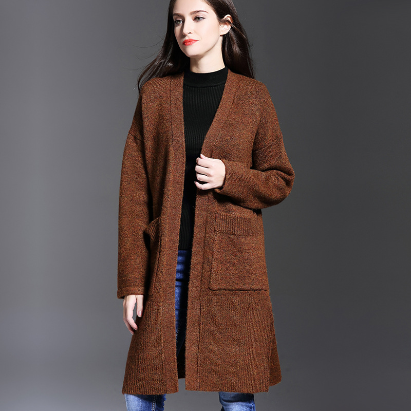 Cardigan Mode Fit Streetwear Manteau À Loose Casual Poche Longues Femmes Brown Cardigans Long Marque Manches Pour Solide Survêtement qBwIUI