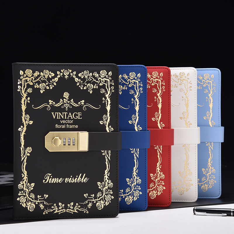 New stationery notebook paper 130 sheets Diary with Lock code password Vintage Notepad office school supplies gift cute pu christmas notebook with password lock school students new year gift diary planner notepad