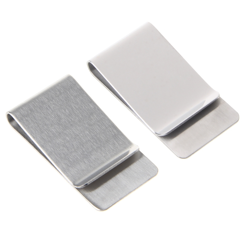1Pc Fashion White Slim Money Clip Credit Card Holder Wallet New Stainless Steel