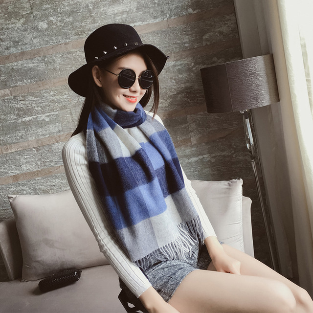 Size 175*30cm, Autumn And Winter Fashion Stylish  Scarf, Wool plaid Feel Long Pashmina shawls and scarves skyour