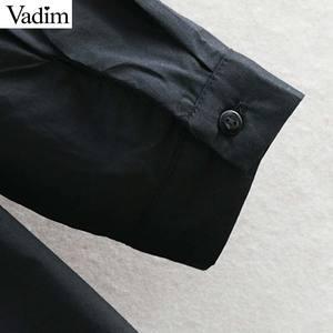 Image 5 - Vadim women sweet solid loose straight dress O neck button design mid calf female casual white midi dresses vestidos QB606