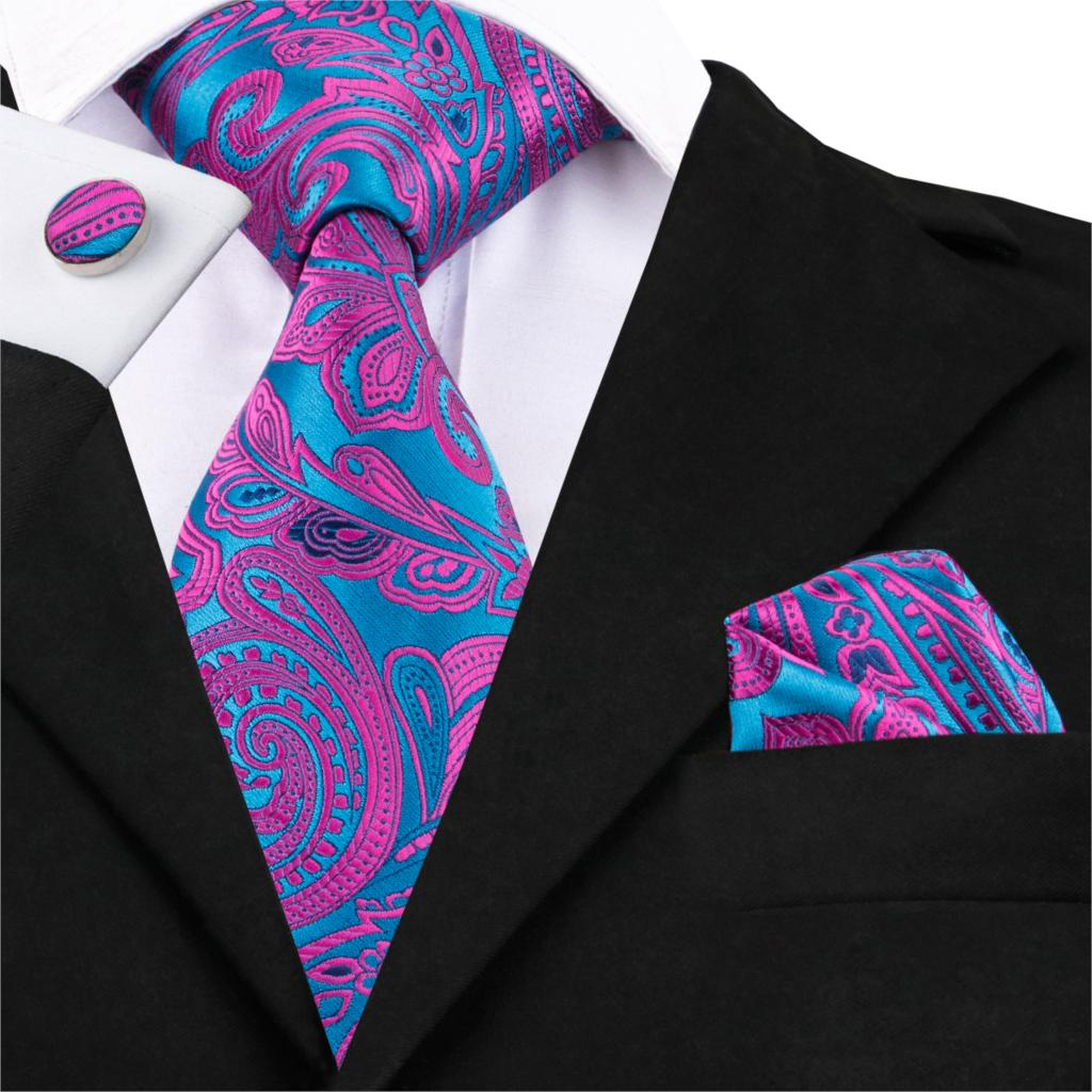 Hi-Tie Purple Paisley Floral Jacquard Woven Silk Ties For Men Gravata Blue Necktie Pocket Square Cufflinks Set Mens Ties SN-1622