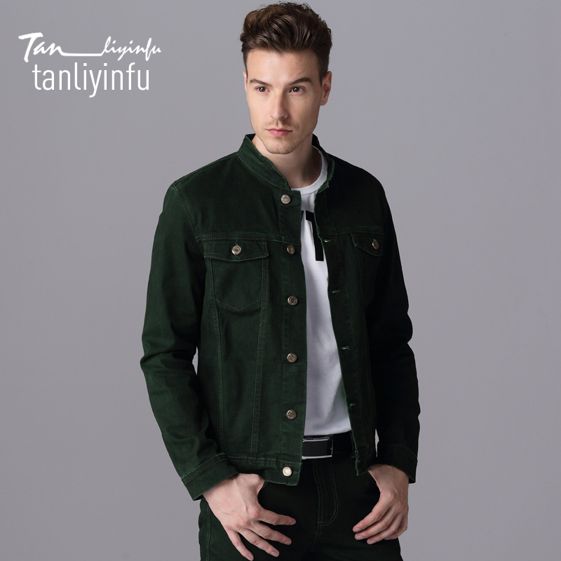 Tanliyinfu2017 spring and summer new high quality green men s jeans jacket cotton 98 spandex 2