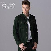 Tanliyinfu2017 frühjahr und sommer neue hochwertige grün herren jeans jacke baumwolle 98%-spandex 2%, mode schlanke männer jacke