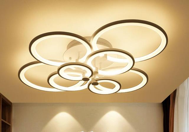 Inbouw Slaapkamer Verlichting : Moderne led ronde cirkel ringen plafondlamp diner verlichting