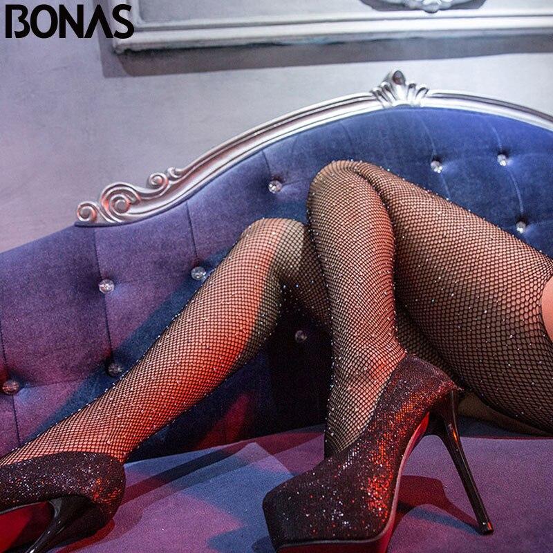 dc65686cd BONAS Venda Quente Mulheres Virilha Aberta Meias Arrastão Sexy Malha em  Losango Meia-calça De