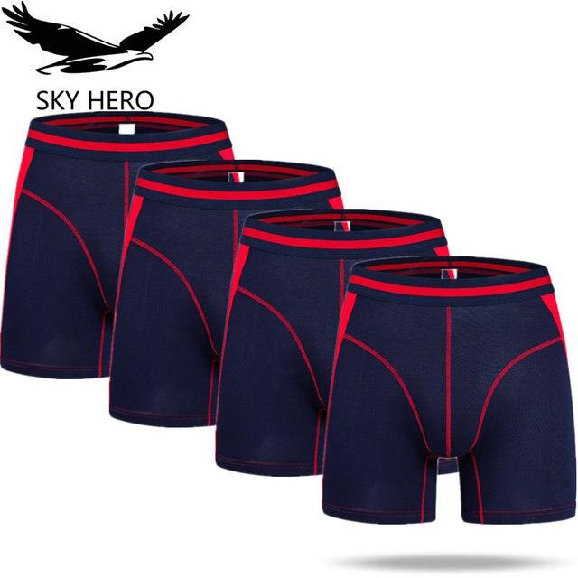 4 יח\חבילה ארוך Boxershorts תחתוני גברים של מתאגרפים תחתונים סקסי Homme Calzoncillos Hombre Heren זכר תחתוני במבוק גבר Cuecas
