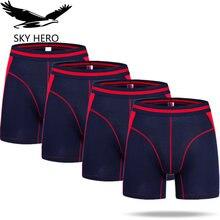 4 Stks/partij Lange Boxershorts Ondergoed Boxers Underpants Sexy Homme Calzoncillos Hombre Heren Mannelijke Slipje Bamboe Man Cuecas