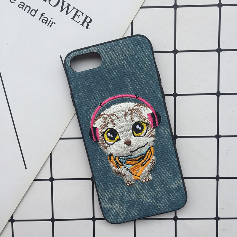 Tfshining Cute 3D Embroidery Cover Case For iPhone XS Max XR X 6 6s 7 8 Plus Soft Full Dog Teddy Pug Husky Dog Mobile Phone Case (8)