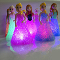 New Christmas Holiday Gift Kids Toy Elsa/Anna LED Night Light Colorful Gradient Led Lamp with Battery Crystal Novelty Light