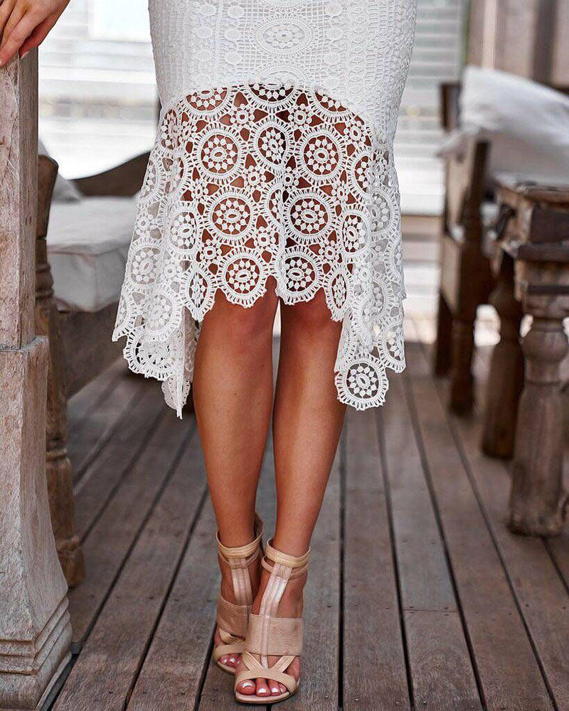 White Lace Spaghetti Strap Elegant Bodycon Dress