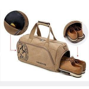 Image 2 - スポーツジムバッグトレーニング男性のフィットネスバッグキャンバスハンドバッグ荷物アウトドアスポーツショルダーバッグ靴収納ジムバッグtas XA353WA