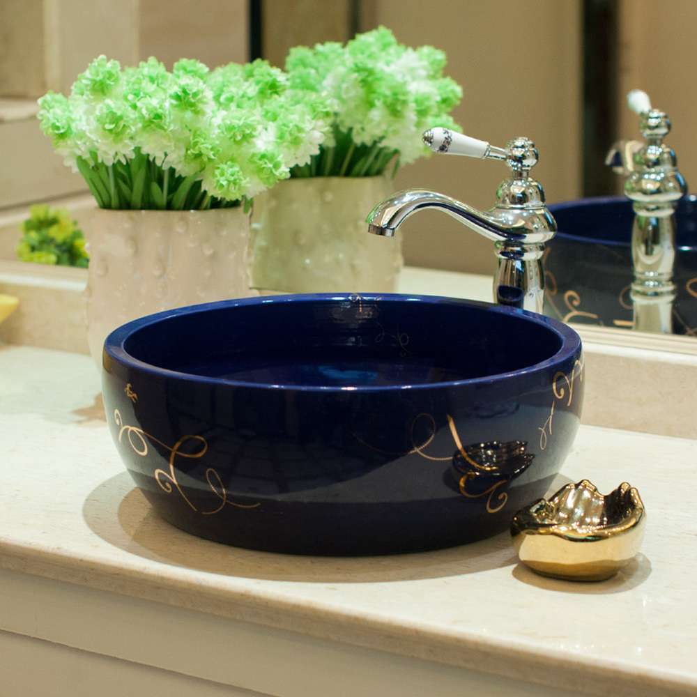 Bathroom Above Counter Basin Ceramic Bathroom Vanity Bathroom Wash Basin Blue Gold Ribbon LO620204