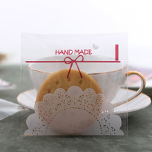 25 White Lace Coffee Bow Gifts Bags Christmas Plastic Cookie Self-adhesive Packaging Bag For Biscuits Candy Snack Baking Package