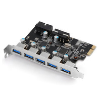 New Computer Mainboard Expansion Card 5 Ports USB 3 0 Monster PCI E Cards HUB Concentrator