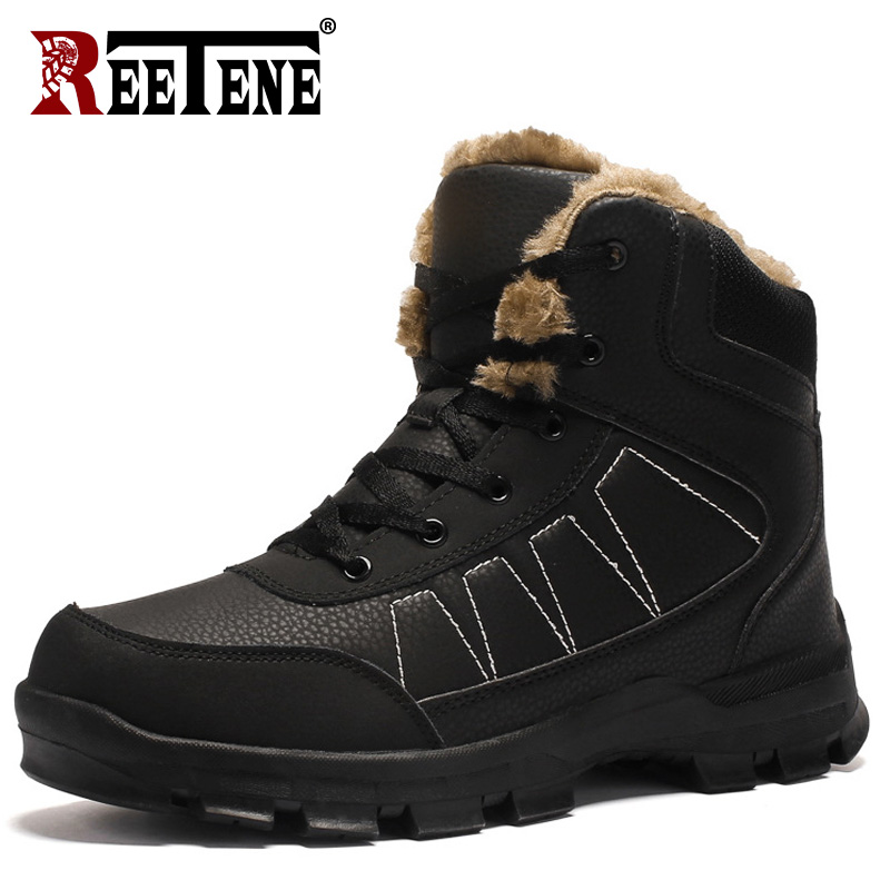 REETENE Super Warm Men Boots Mens Work Safety Shoes Winter Fur Warm Snow Boots Plush Warm Waterproof Boots Leather Ankle Boots