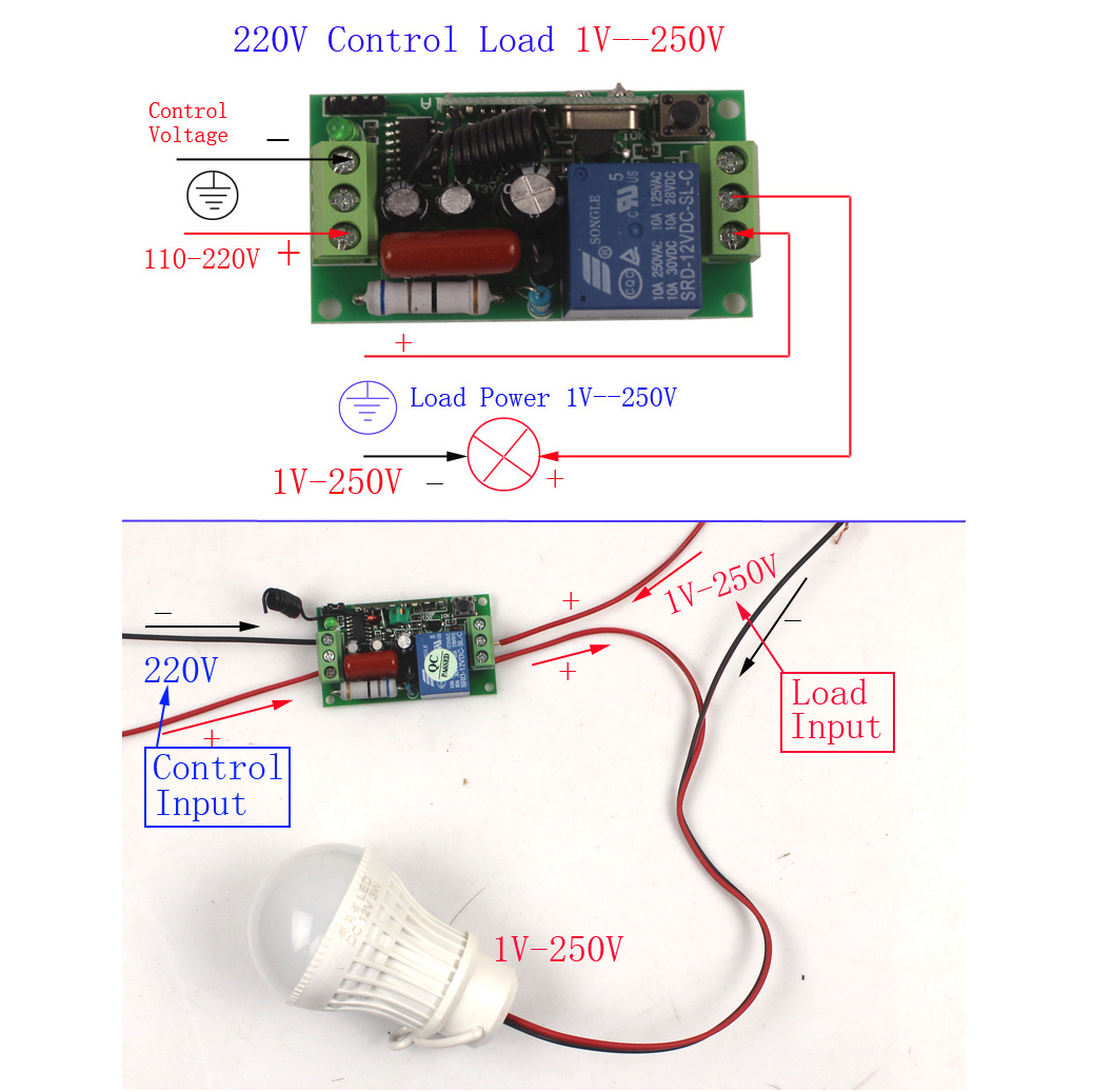 de luz remoto 220v modulo rele com caixa 03