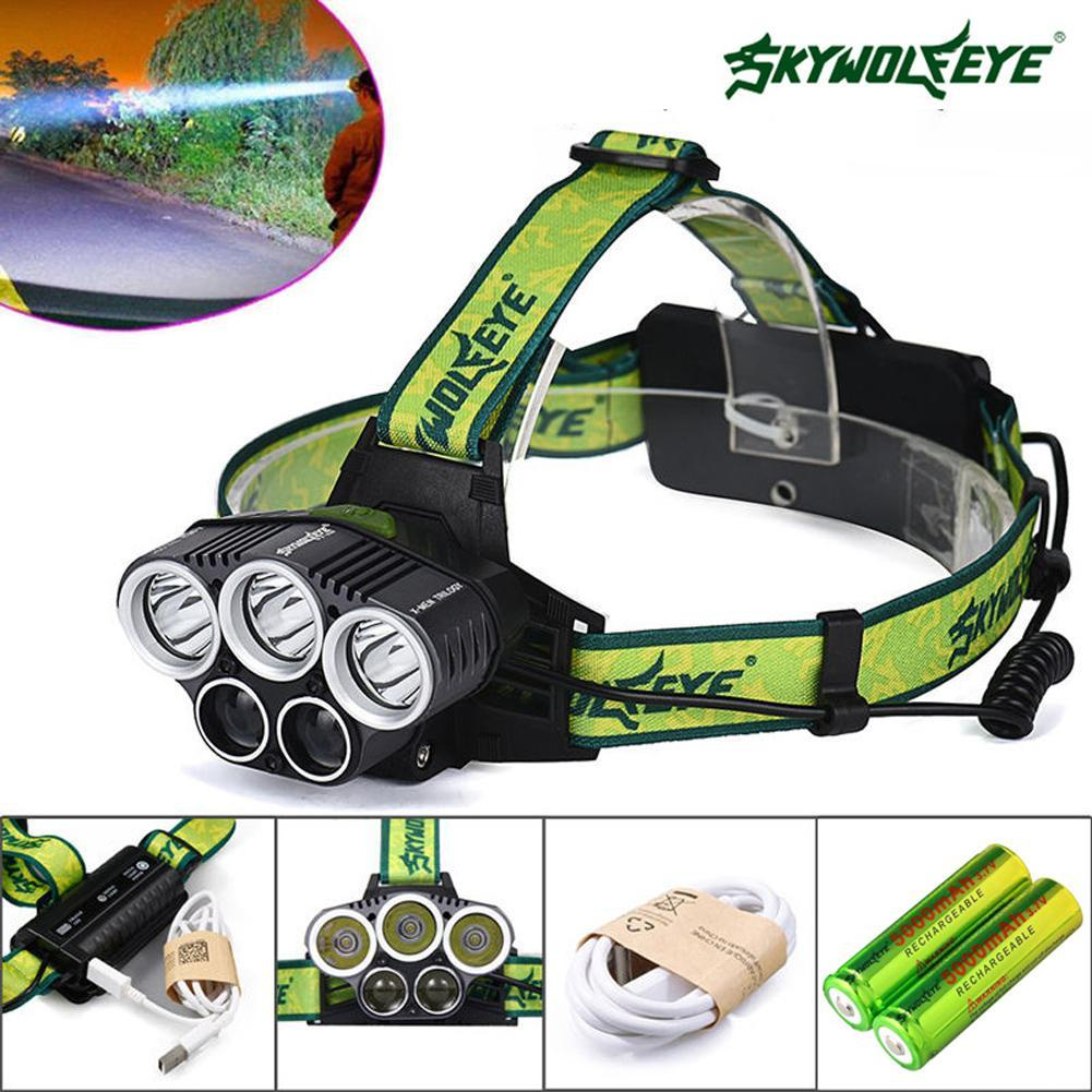 Skywolfeye 80000lm T6 5x Led Headlamp Rechargeable Ultra
