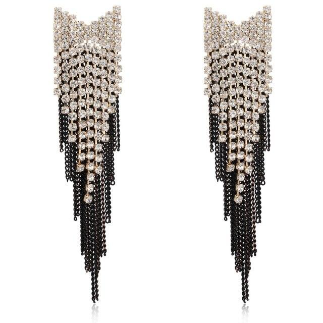 Yfjewe Мода черный лук серьги для Для женщин Винтаж Длинная кисточка серьги-капельки серьга оптовая продажа свадебные подарки # E058