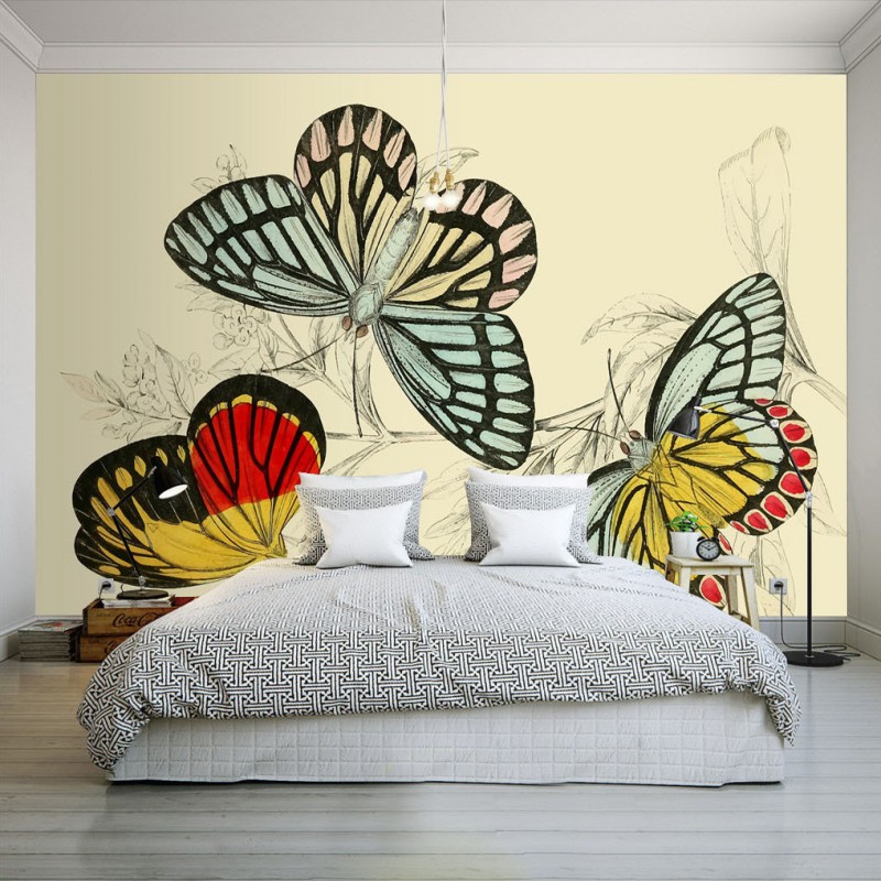 US $11.78 20% OFF|photo wallpaper American style hand painted color  butterfly wallpaper bedroom hotel restaurant studio decoration mural-in  Wallpapers ...