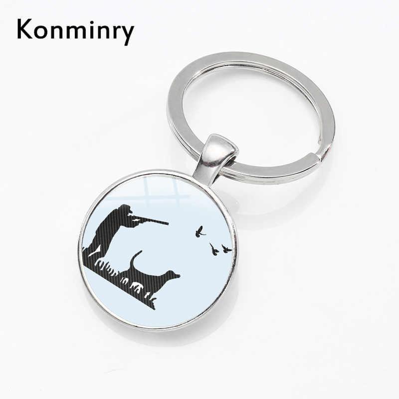 Lucu Schnauzer Peliharaan Anjing Gantungan Kunci Penahan Perak Disepuh Logam Keyrings Sepanjang Kaca Liontin Gantungan Kunci Wanita Pria Perhiasan Konminry