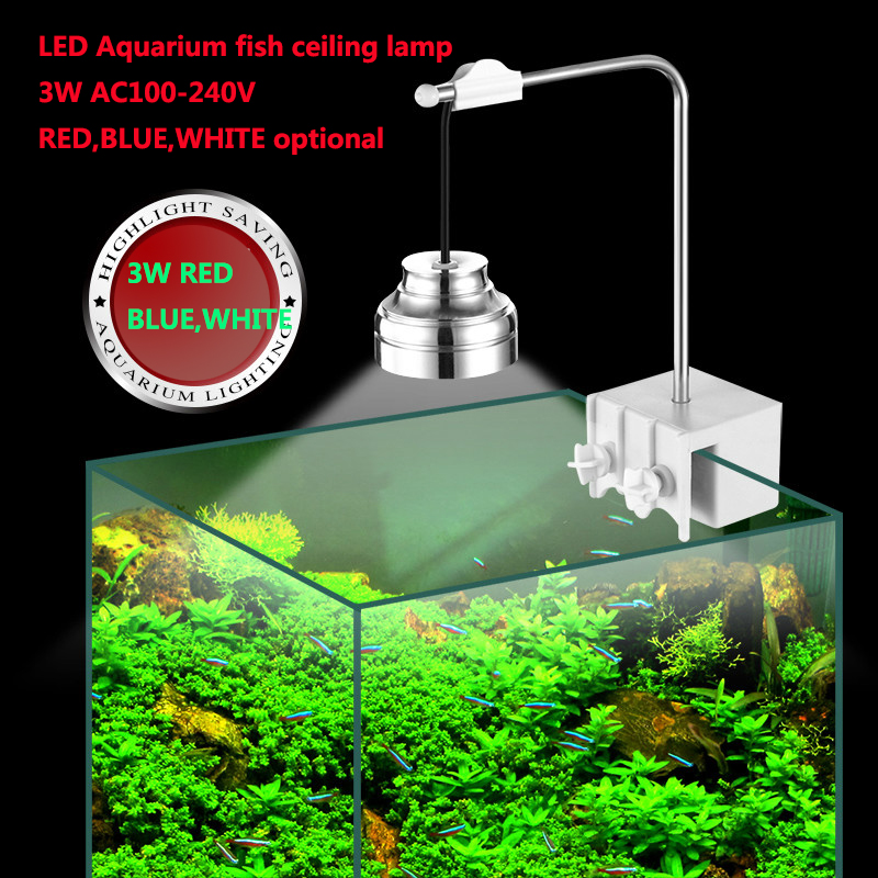 3W LED Aquarium Ceiling spot light Three grade white + red + blue light fish tank lamp AC110V -240V oumily aircraft grade aluminum alloy tactical defense writing pen w white led light rose red