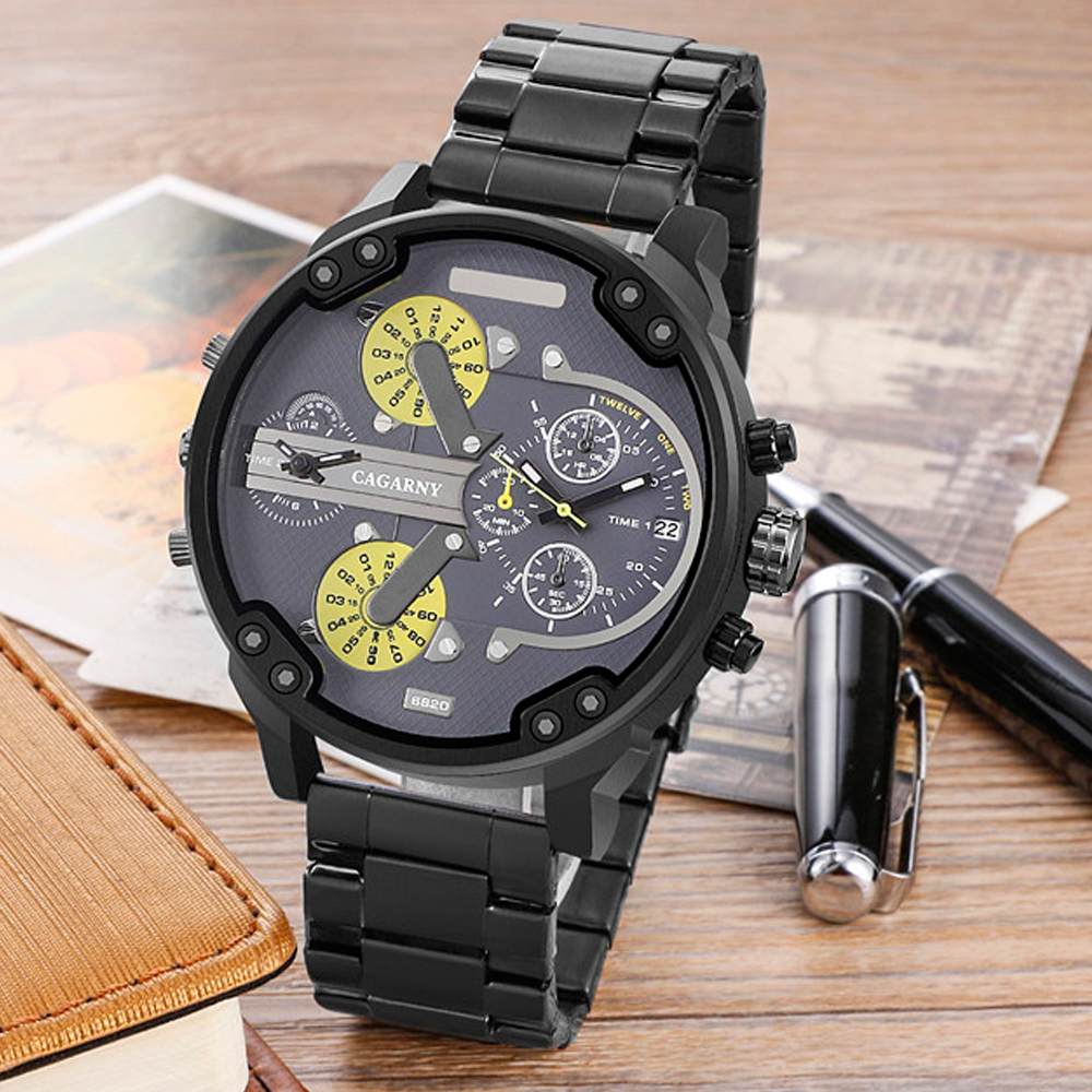 very cool dz 7314 7313 7333 7371 big case mens watches full steel band dual time zones miltiary watch men quartz wrist watch free shhipping (80)