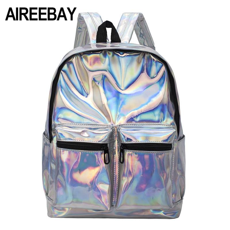 AIREEBAY 2018 Summer Silver Hologram Laser Backpack Girl School Backbags PU Leather Holographic Shoulder Bags For Teenage Girls