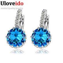 50% от женщин стад стерлингового серебра 925 черный ювелирные изделия синий кристалл серьга розовый фиолетовый Brincos прата Ulove DML49