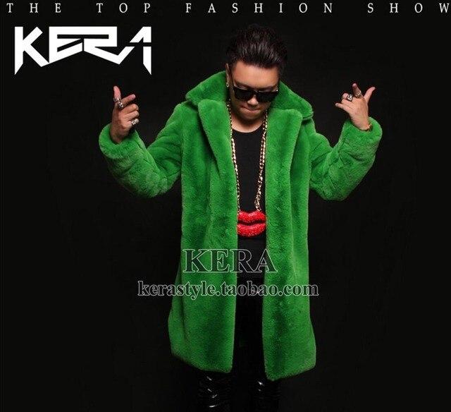 S-5XL НОВЫЙ плюс размер шуба GD Bigbang права чжи-long DJ зеленый мех длинное пальто тренч мужская DJ этап певица костюмы одежда