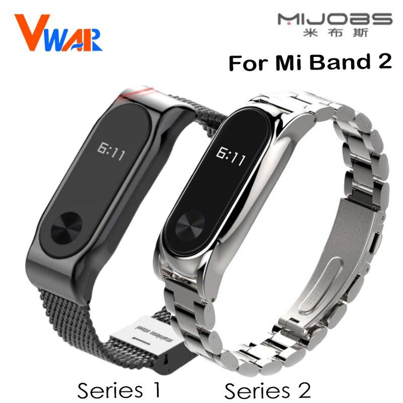 Mijobs bracelet en métal pour xiaomi mi bande 2 sangles sans vis bracelet en acier inoxydable bande à puce remplacer accessoires pour mi bande 2