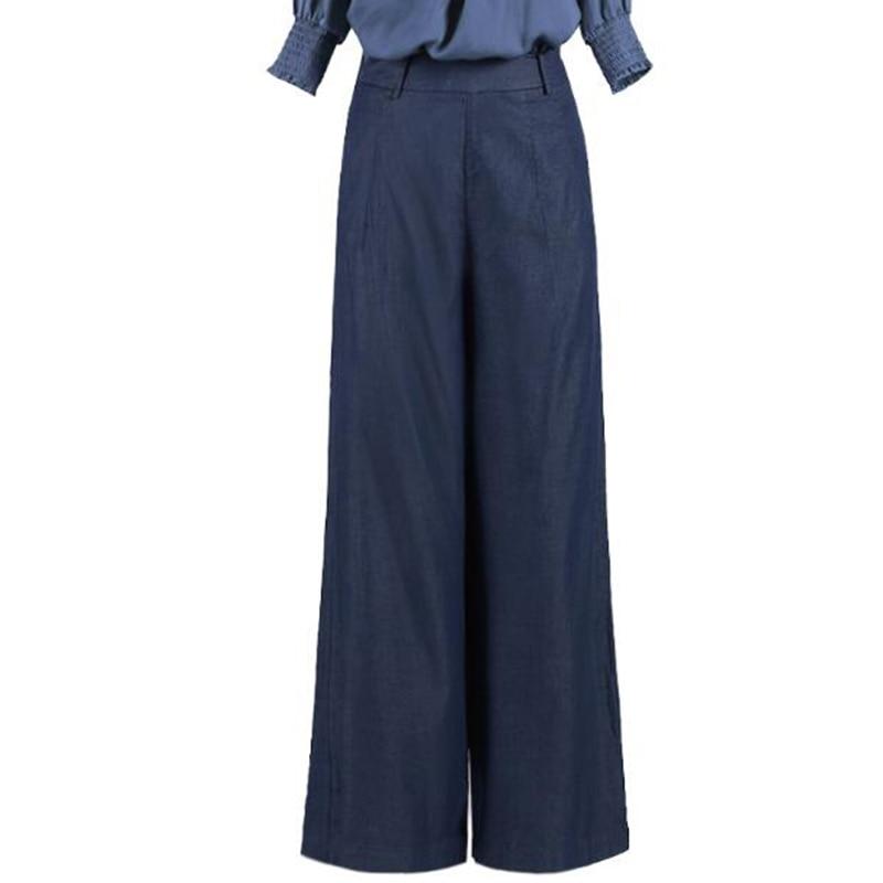 5429e18b947 2018 Casual Womens Wide Leg Pants Plus Size High Waist Demin Pants Fashion  Palazzo Pants Tencel Trousers Jeans Woman Bottoms-in Pants   Capris from  Women s ...