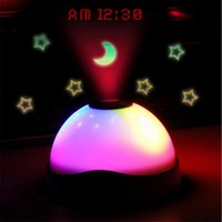 Hot Colorful Dream Projection Clock Shiny LED Moon Star Projector Nightlight Alarm Clock Box Packing Free
