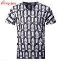 Los hombres de Algodón Mercerizado Camisetas Marca 5XL Del Tamaño Del Verano Corto Ocasional de la manga Slim Fit Alta Calidad 3D Impreso Camisetas F2147