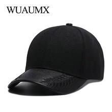 Wuaumx alta calidad sombreros de verano para las mujeres negro gorra de béisbol  hombres PU cuero Brim Snapback Cap Hip Hop para . 6dbe258fc66