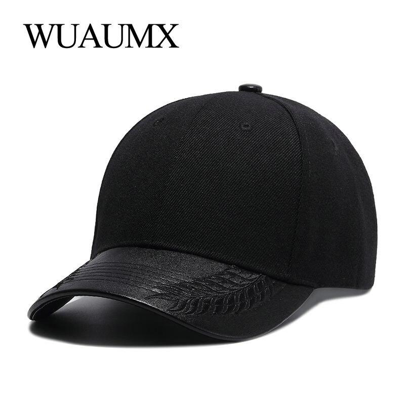 Wuaumx High Quality Summer Hats For Women Black   Baseball     Cap   Men PU Leather Brim Bone Snapback Hip Hop   Cap   For Men Casquette