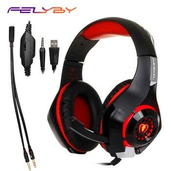 Auriculares para juegos PS4 PC auriculares Tablet PC micrófono para portátil, diadema ligera de 3,5mm auriculares y Cable adaptador