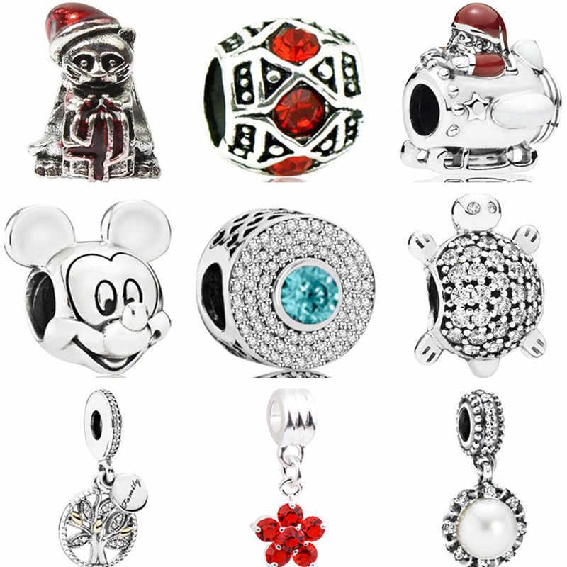 Punk Vintage plata Color bloqueo corazones estrellas tortuga Mickey Mouse cuentas Fit Pandora dijes pulseras DIY Trinket para regalos de mujer