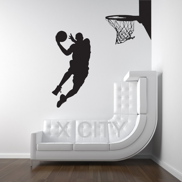 Michael Jordan Basketball Player Dunk Ball Dorm Decor Silhouette WALL ART STICKER  VINYL DECAL ROOM STENCIL