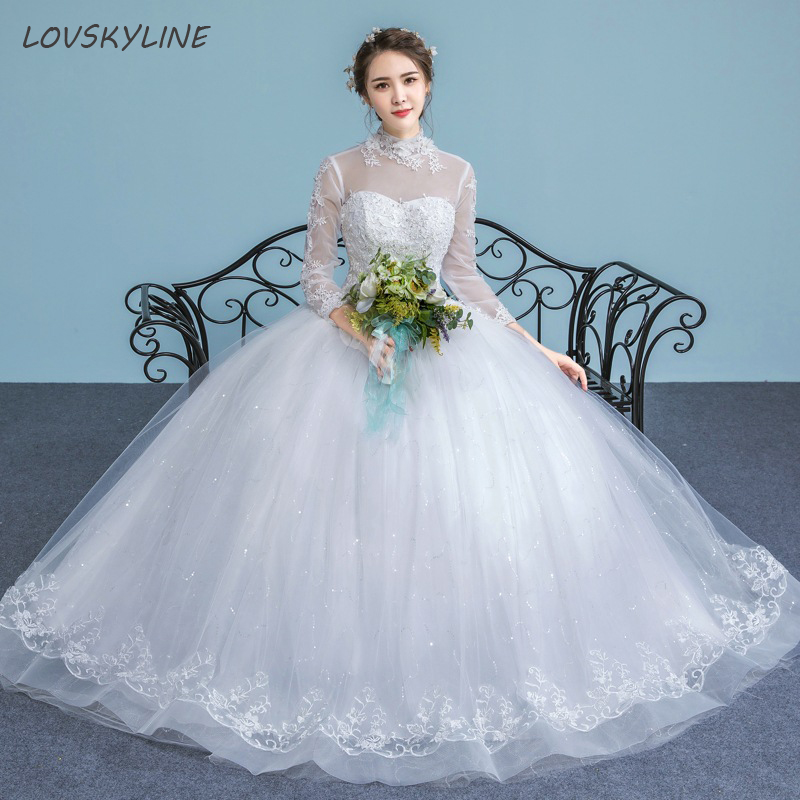 Cheap Lace Wedding Dresses High Neck Three Quarter Sleeve
