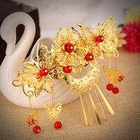 Women Lady Girls Wedding Vintage Hair Comb Gold Plated Flowers Bridal Tassel Hairpin Accessories Hairwear Jewelry