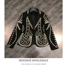 2019 Spring Summer New Metal Rivet Hot Heavy Design Suit Suit Jacket Short Coat Shirt Female new design spring