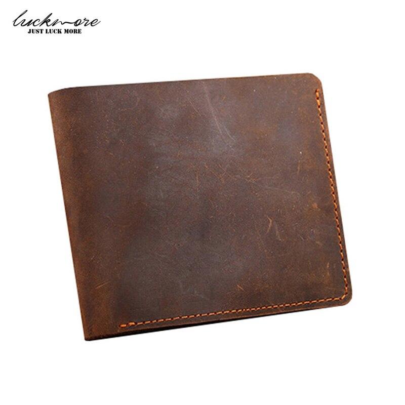 Crazy Horse Leather Men s Wallets With Card Holder Genuine Leather Designer Black Short Vintage Man