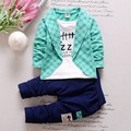 Varejo 2016 Meninos Primavera Bebê Casuais longo-manga conjunto de roupas Baby & Kids moda camisa xadrez + calça 2 pcs conjuntos de roupas