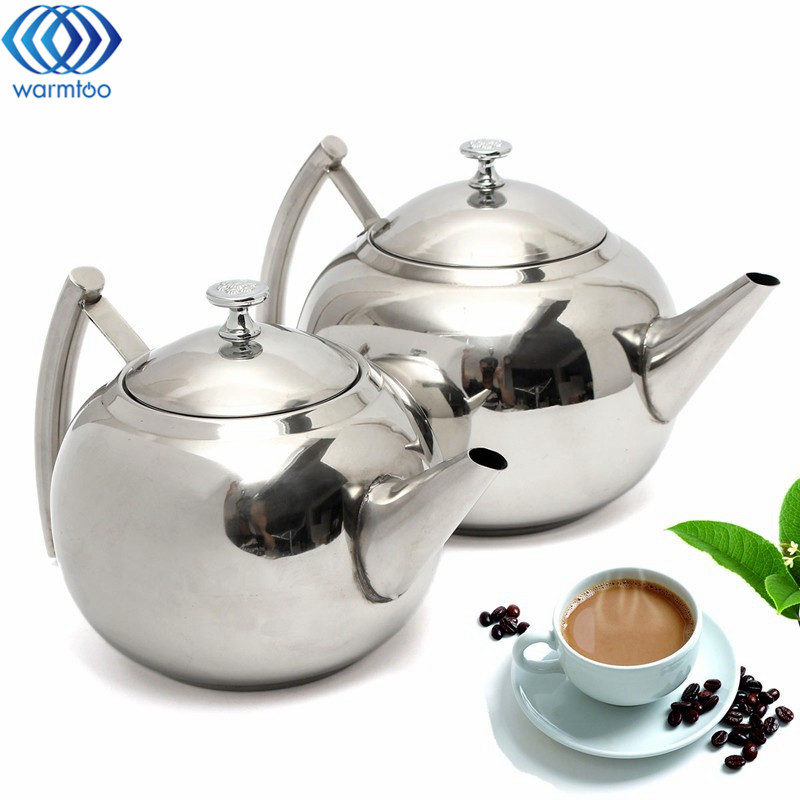 1.5L/2L Durable Stainless Steel Coffee Pot Teapot Cold Water With Strainer Tea Leaf Filter Infuser Polish Fashion Home 1pc teapot pot shape stainless steel leaf tea infuser filter strainer ball spoon strainer infuser tea spoon shaped teapot